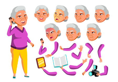 Asian Old Woman Vector. Senior Person. Aged, Elderly People. Leisure, Smile. Face Emotions, Various Gestures. Animation Creation Set. Isolated Flat Cartoon Illustration