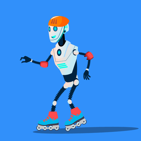Robot Rolling On Roller Skates Vector. Illustration