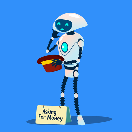 Robot Beggar Asking For Money With Hat In Hand Vector. Isolated Illustration