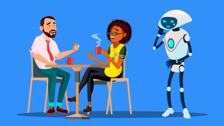 People Hanging Together In Restaurant And Ignoring Sad Robot Staying Alone Vector. Illustration