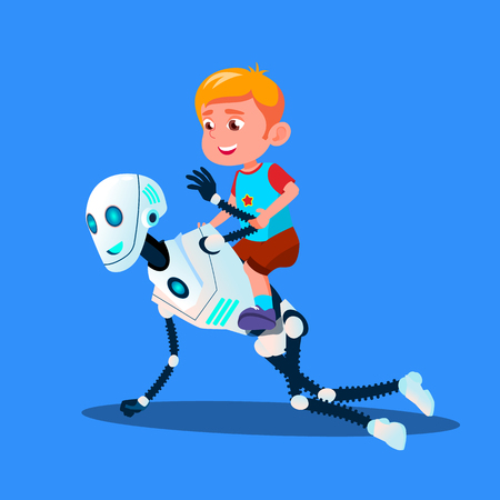 Robot Playing With Little Kid Boy Sitting On His Back Vector. Isolated Illustration Illustration