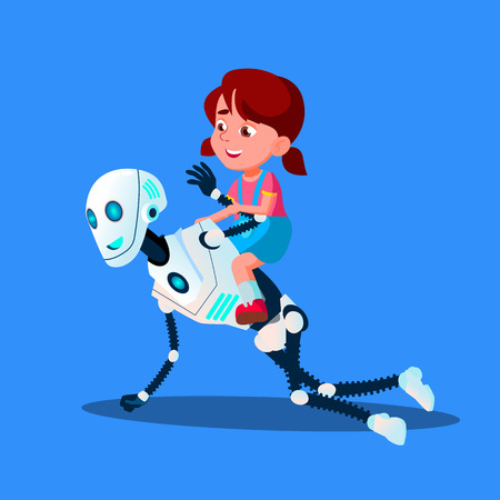 Robot Playing With Little Kid Girl Sitting On His Back Vector. Isolated Illustration