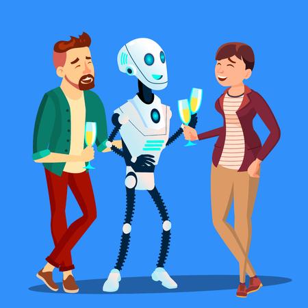 Robot bebiendo champán y riéndose de la fiesta con el hombre y la mujer Vector. Ilustración
