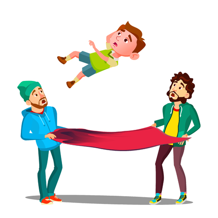 Men Catching Kid Boy Falling Out Of Window On Fire Awning Vector. Isolated Illustration Illustration