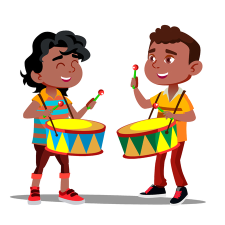 Two Little Afro American Boys Beating The Drums And Dancing Vector. Isolated Illustration Illustration