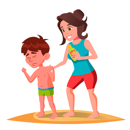 Mother Smears The Cream On The Back Of Sun-Burnt Kid In Swimming Trunks Vector. Illustration