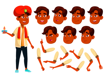Indian Teen Boy Vector. Teenager. Friends, Life. Face Emotions, Various Gestures. Animation Creation Set. Isolated Flat Cartoon Illustration Illustration
