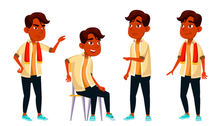 Indian Boy Schoolboy Kid Poses Set Vector. High School Child. Child Pupil. Subject, Clever, Studying. For Postcard, Announcement, Cover Design. Cartoon Illustration