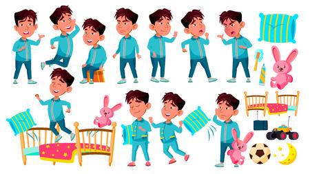 Asian Boy Kindergarten Kid Poses Set Vector. Sleep, Bedroom. Pillow,Toy. Preschool, Childhood. Smile. Toys. For Web, Poster, Booklet Design. Isolated Cartoon Illustration 矢量图像
