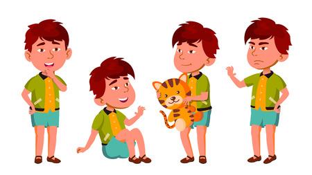 Asian Boy Kindergarten Kid Poses Set Vector. Friendly Little Children. Cute, Comic. For Web, Brochure, Poster Design. Isolated Illustration Illustration