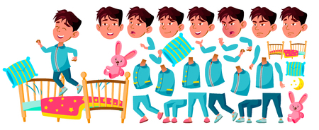 Asian Boy Kindergarten Kid Vector. Animation Creation Set. Sleep, Bedroom. Pillow,Toy. Face Emotions, Gestures. Preschooler Playing. Friendship. For Advertising, Placard Design. Animated. Illustration