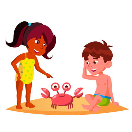 Squatting Kids Watching A Crab On The Beach Vector. Isolated Illustration