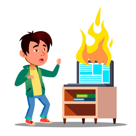 Scared Asian Kid Next To Burst Into Flame Laptop Vector. Illustration