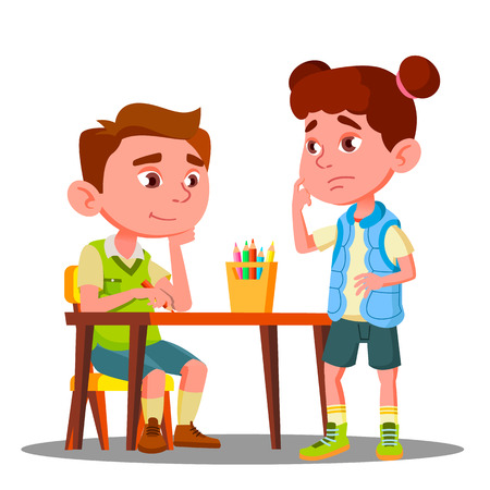 Boy Drawing With Colored Pencils And Offended Girl Stands Next To Him Vector. Illustration Illustration