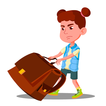 Child Girl With Effort Draging Along The Floor A Heavy School Backpack Vector. Illustration Vettoriali
