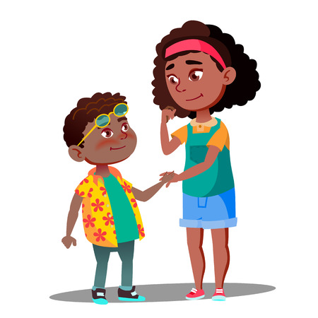 Smiling Girl Takes Hand Of Shy Afro American Boy Vector. Illustration Vettoriali