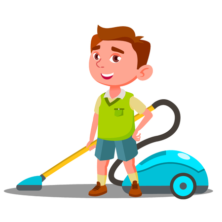 Little Boy With Vacuum Cleaner Helps To Do House Cleaning Vector. Illustration Ilustración de vector