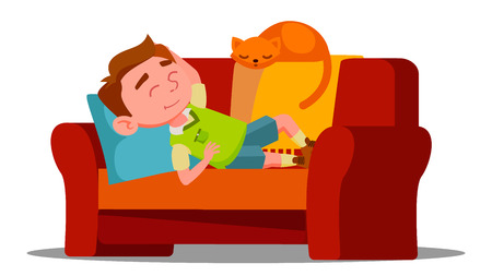 Tired Little Boy Sleeping On The Couch Next To Sleeping Cat Vector. Illustration