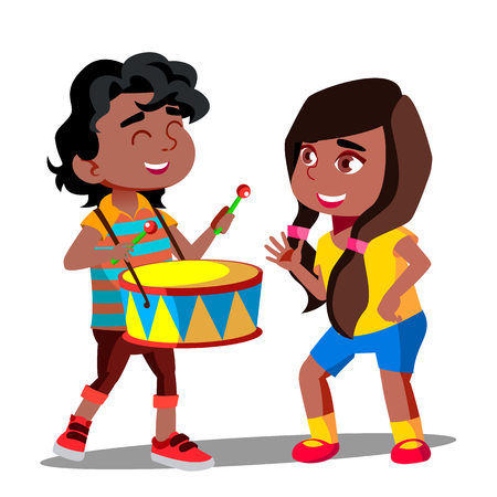 Afro American Boy Playing Drum Next To Dancing Afro American Girl Vector. Illustration Vetores