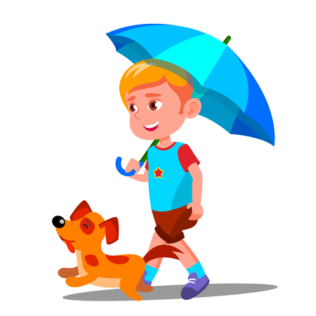 Little Boy Walking A Dog Under Umbrella In The Rain Vector. Illustration Ilustração