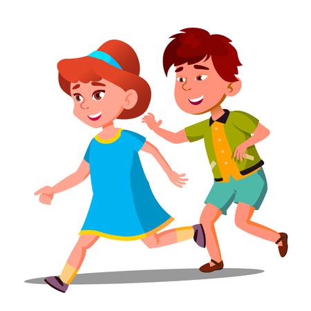 Little Boy And Girl Playing Catch-Up Vector. Illustration Ilustração