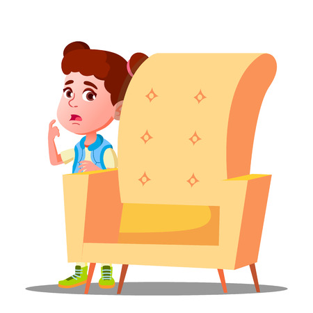 Frightened Little Girl Looks Out From Behind The Armchair Vector. Illustration