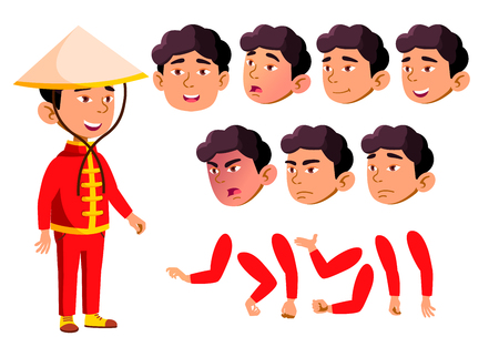 Asian Boy, Child, Kid, Teen Vector. School children, Teen. Face Emotions, Various Gestures Animation Creation Set Isolated Illustration