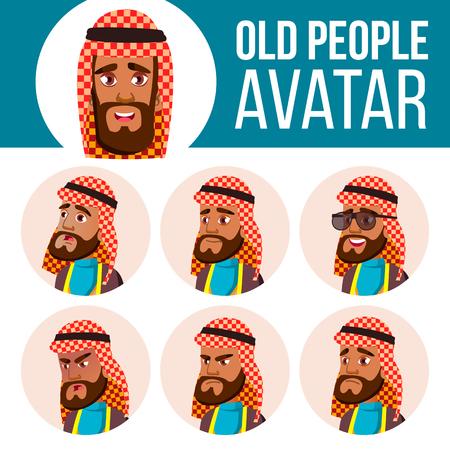 Arab, Muslim Old Man Avatar Set Vector. Face Emotions. Senior Person Portrait. Elderly People. Aged. Flat, Portrait. Cartoon Head Illustration