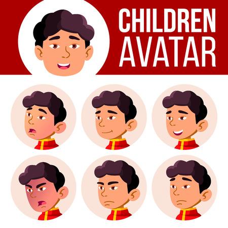 Asian Boy Avatar Set Kid Vector. Kindergarten. Face Emotions. Emotional, Facial, People. Childish, Kindergartener. Layout, Advertising. Cartoon Head Illustration 矢量图像