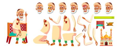 Arab, Muslim Old Man Vector. Senior Person Portrait. Elderly People. Aged. Animation Creation Set. Face Emotions, Gestures. Banner, Flyer. Animated. Illustration