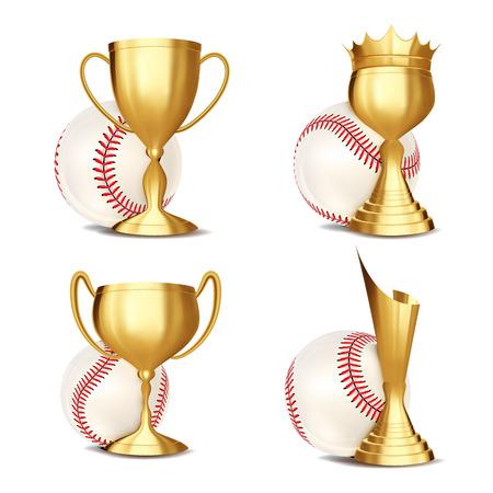 Baseball Game Award Set Vector. Baseball Ball, Golden Cup. Modern Baseball Tournament. Design For Sport Promotion. Certificate, Diploma. Sport Event Announcement. Banner Advertising. Illustration