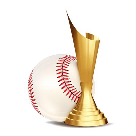 Baseball Award Vector. Baseball Ball, Golden Cup. Sports Game Event Announcement. Baseball Banner Advertising. Professional League. Sport Invitation. Event Illustration