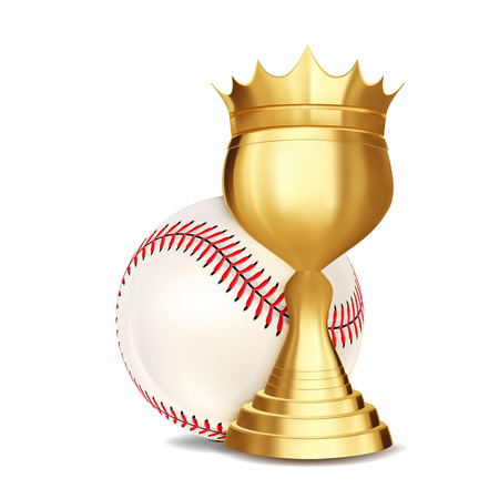 Baseball Award Vector. Baseball Ball, Golden Cup. For Sport Promotion. Tournament, Championship Flyer Design. Baseball Club, Academy. Invitation Element Illustration 向量圖像