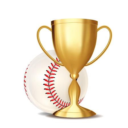 Baseball Game Award Vector. Baseball Ball, Golden Cup. Modern Tournament. Design Element For Sport Promotion. Baseman, Batter, Hitter. Baseball Ball. Baseball Competition League Flyer. Illustration 일러스트