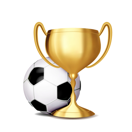 Soccer Award Vector. Football Ball, Golden Cup. Banner Advertising. Sport Event Announcement. Competition Announcement, Game, League Design. Championship Illustration