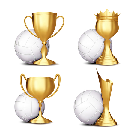 Volleyball Game Award Set Vector. Volleyball Ball, Golden Cup. Modern Volleyball Tournament. Design For Sport Promotion. Volley. Certificate, Diploma. Sport Event Announcement. Banner Illustration