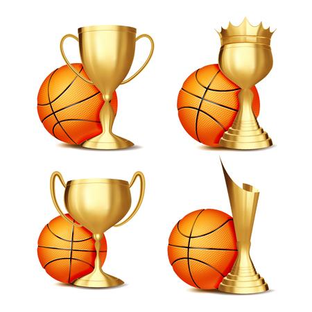 Basketball Game Award Set Vector. Basketball Ball, Golden Cup. Modern Basketball Tournament. Design For Sport Promotion. Certificate, Diploma. Sport Event Announcement. Banner Advertising Illustration 向量圖像