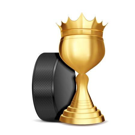 Ice Hockey Award Vector. Ice Hockey Puck, Golden Cup. For Sport Promotion. Tournament, Championship Flyer Design. Ice Hockey Club, Academy. Invitation Element Illustration