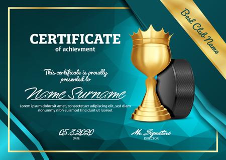 Ice Hockey Certificate Diploma With Golden Cup Vector. Sport Graduation. Elegant Document. Luxury Paper. A4 Horizontal. Championship Illustration Çizim