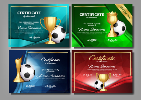 Soccer Game Certificate Diploma With Golden Cup Set Vector. Football. Sport Award Template. Achievement Design. A4. Graduation. Document. Champion. Best Prize. Winner Trophy. Template Illustration Archivio Fotografico - 116837730