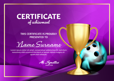 Bowling Game Certificate Diploma With Golden Cup Vector. Sport Graduate Champion. Best Prize. Winner Trophy. A4 Horizontal. Illustration