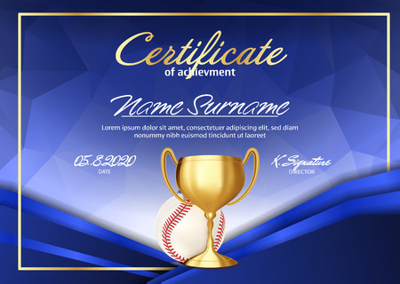 Baseball Game Certificate Diploma With Golden Cup Vector. Sport Graduate Champion. Best Prize. Winner Trophy. A4 Horizontal. Illustration