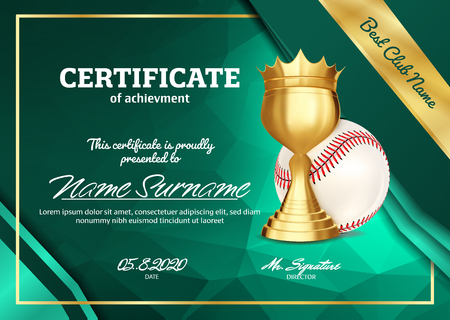 Baseball Certificate Diploma With Golden Cup Vector. Sport Graduation. Elegant Document. Luxury Paper. A4 Horizontal. Championship Illustration