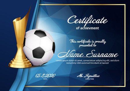 Soccer Certificate Diploma With Golden Cup Vector. Sport Graduation. Elegant Document. Luxury Paper. A4 Horizontal. Championship Illustration Illustration