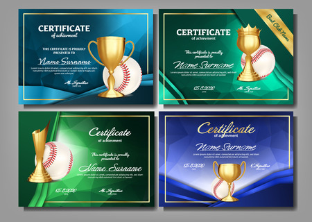 Baseball Game Certificate Diploma With Golden Cup Set Vector. Sport Award Template. Achievement Design. Honor Background. Elegant Document. Champion. Best Prize. Winner Trophy. Template Illustration 일러스트