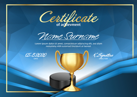 Ice Hockey Game Certificate Diploma With Golden Cup Vector. Sport Graduate Champion. Best Prize. Winner Trophy. A4 Horizontal. Illustration