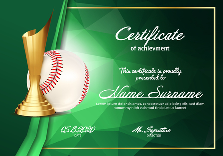 Baseball Certificate Diploma With Golden Cup Vector. Sport Vintage Appreciation. Modern Gift. Print Blank. A4 Horizontal. Event Illustration