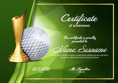 Golf Certificate Diploma With Golden Cup Vector. Sport Vintage Appreciation. Modern Gift. Print Blank. A4 Horizontal. Event Illustration