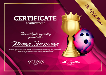 Bowling Certificate Diploma With Golden Cup Vector. Sport Award Template. Achievement Design. Honor Background. A4 Horizontal. Illustration Illustration