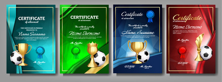 Soccer Game Certificate Diploma With Golden Cup Set Vector. Football. Sport Award Template. Achievement Design. A4. Graduation. Champion. Best Prize. Winner Trophy. Template Illustration